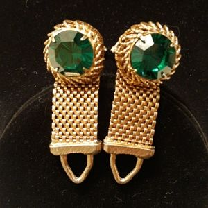Vintage Goldtone and Green Stone Cuff Links